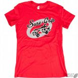 "SURE-GRIP ""Derby"" Girls T-Shirt RED S or L Roller Derby Rollerskate Tee"